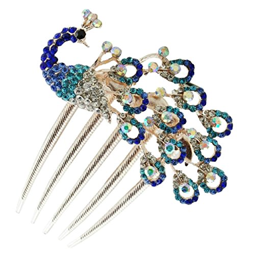 Wedding Bridal Headpiece Rhinestone Hair Comb Women Peacock Hair Clip Side Comb Hair Accessory(Blue)
