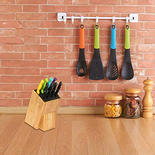 Mantello XL Universal Bamboo Wood Knife Block Storage Holder Organizer