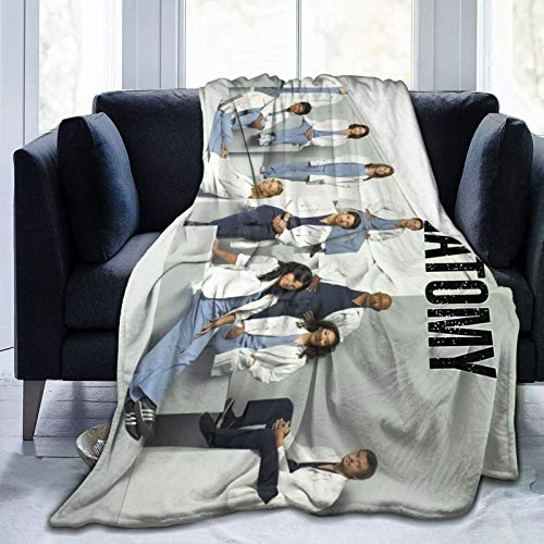 G-rey's A-natomy - Manta de microfibra ultrasuave, ligera, hipoalergénica, para niños, niñas, adultos, impresión 3D, perfecta para sofá, cama, color negro, 127 cm x 40 cm