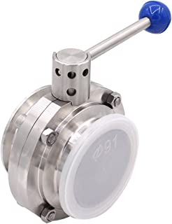 DERNORD Sanitary Butterfly Valve with Pull Handle Stainless Steel 304 Tri Clamp Clover (3