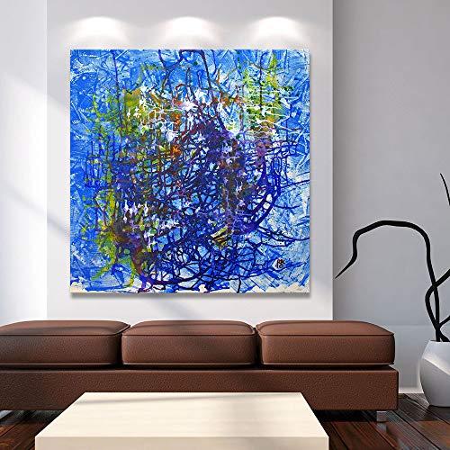 N / A Blaue abstrakte Leinwand Kunst Wandbild für Wohnzimmer Vogel Home Decoration Gemälde Rahmenlos 28x28 cm