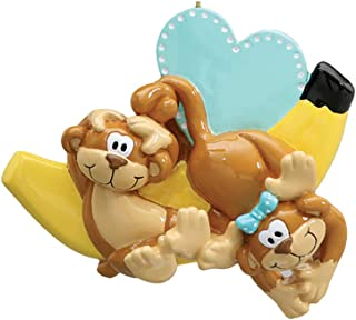 Personalized Monkey Couple Christmas Tree Ornament 2019 - Happy Playful Together Banana Blue Heart Holiday Tradition Sibling Child Birthday Twin Friend Daughter Kid Year Nursery - Free Customization