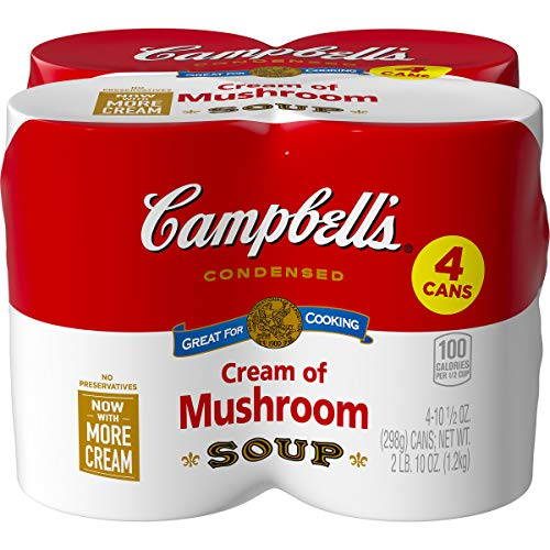 Campbell's Condensed Cream of Mushroom Soup, 10.5 oz. Cans (Pack of 4) (Packaging May Vary)