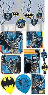 Amscan Batman Birthday Party Pack! Bundle of Plates, Napkins, Invitations, Decorations