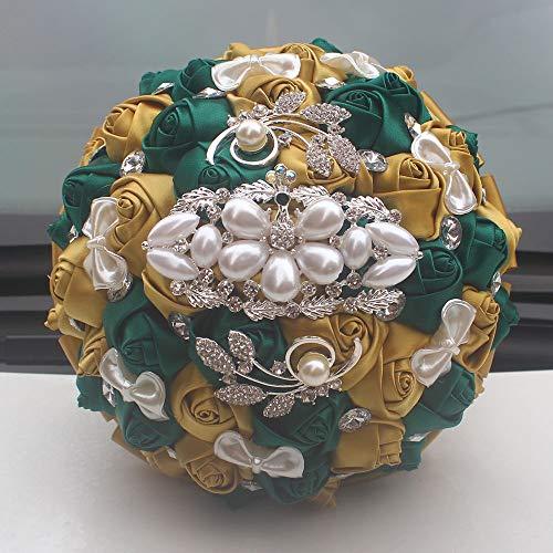 HJSM Brautstrauß Hochzeit Hochzeitsstrauß Bouquets Crystal Roses Brautjungfer Hochzeitsstrauß Braut Kunstseidenblumen Brautstrauß Künstlich Sträuße Hochzeit, B