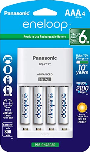 Panasonic K-KJ17M3A4BA Advanced Individual Cell Battery Charger Pack with 4 AAA eneloop 2100 Cycle...