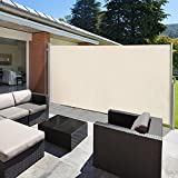 VINGLI Beige Patio Retractable Side Screen Awning, Patio Garden Privacy Divider, (118' L x 71' W )