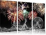 Silvester Feuerwerk schwarz/weiß 3-Teiler Leinwandbild
