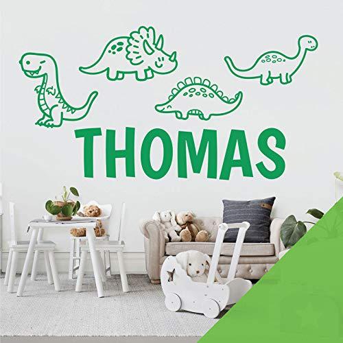 Adhesivo decorativo para pared, diseño de dinosaurios, T-Rex, Apatosaurus, Jurassic World, color lima