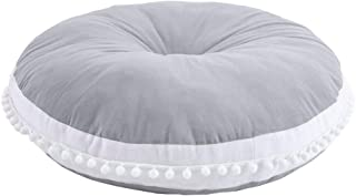 Wonder Space Baby Seat Lounger Pouf- Ultra Soft Toddler Floor Pillow with White Pom Poms Edge, Best Seating Cushion & Play Mat for Kids and Children (Grey)