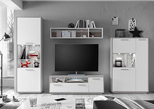 AVANTI TRENDSTORE - Verri - Parete da soggiorno in quercia argentata / bianco opaco d'imitazione con luci LED comprese, ca. 299x200x45 cm