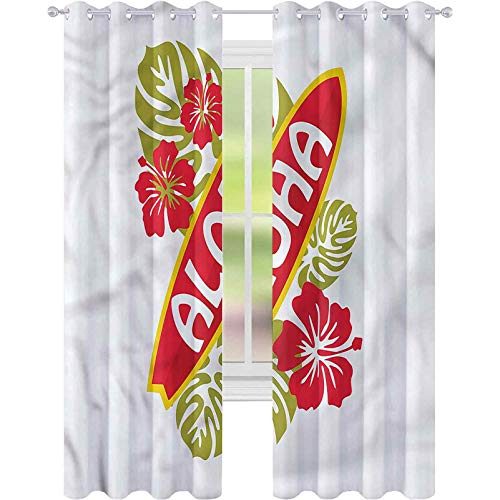 Cortina opaca para ventana, tabla de surf con hojas de palma, Aloha de 52 x 72 cm de ancho, cortinas de oscurecimiento para sala de estar