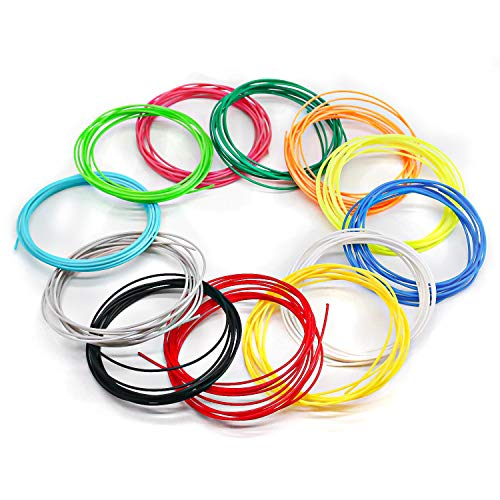Filamenti Penna 3D, Filamenti PLA 1,75mm per Penna 3D Fede, Filamento Stampa 3D Inodore, Ricambio Penna 3D Sicuro Bimbi, 12 Colori 3m cad