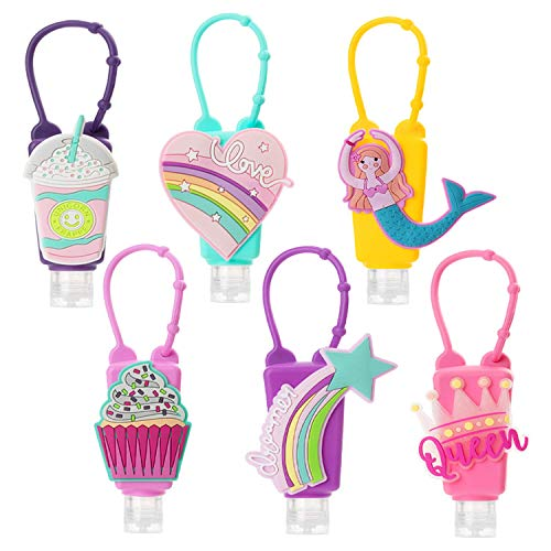 Cute Cartoon Kids Hand Sanitizer Holders for Girls,6 Sets Silicone Keychain Carriers for Backpack,1oz/30mL Pocket Hand Cleaner Gel Containers,Refillable Empty Travel Size Bottle Holders for School