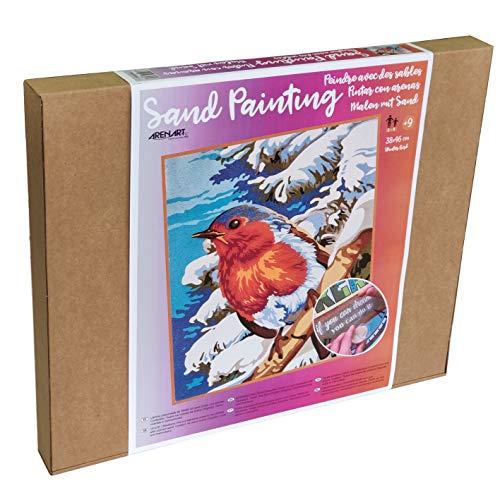 Arenart   1 Lámina Pájaro de Invierno 38x46cm   para Pintar con Arenas de Colores   Manualidades para Adultos y Jóvenes   Dibujo Fácil   Pintar por números   +9 años
