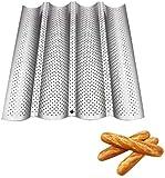 Bandeja de Baguettes, con 4 Revestimiento Perforado Antiadherente Molde de Pan Francés