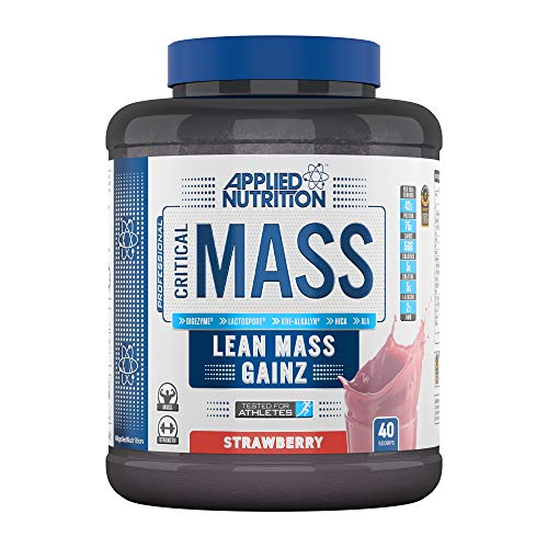 Applied Nutrition Critical Mass Professional Protein Powder, High Calorie Weight Gainer, Low Sugar, Informed Sport Tested, Lean Mass with Creatine, Glutamine, BCAA - 2.4kg (Strawberry)