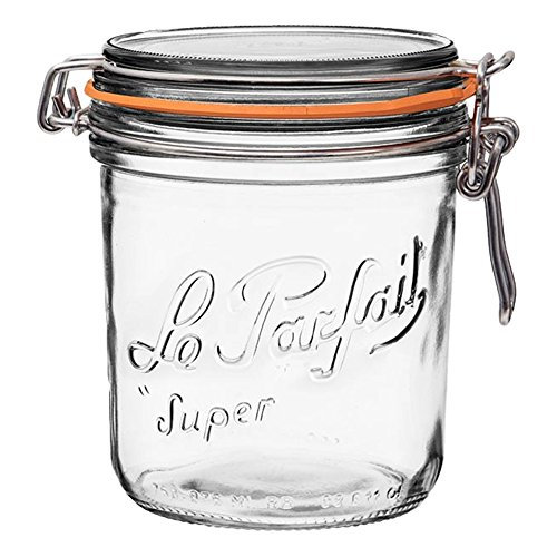 Le Parfait Super Terrine - 750ml French Glass Canning Jar w/Straight Body, Airtight Rubber Seal & Glass Lid, 24oz/Pint & Half (Pack of 4) Stainless Wire