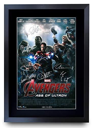 HWC Trading Avengers - Age of Ultron Die Cast-Geschenke Printed Poster Autogramm Bild für Film-Memorabilia Fans Signed - A3 Eingerahmt
