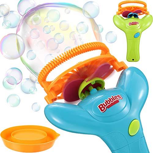 2 Piezas Máquina de Burbujas Fabricante de Burbujas Eléctrico Automático Soplador de Burbujas Doble Automático Juguetes al Aire Libre de Burbujas para Fiesta de Cumpleaños Halloween Boda Niños