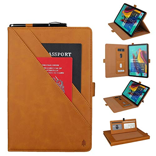 YANCAI Case Cover Horizontal Flip Double Bracket Leather Case for Galaxy Tab S 5E 10.5 / T720 / T725, with Card Slots & Photo Frame & Pen Slot (Color : Light Brown)