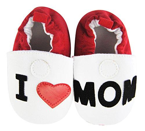 axy Baby Stoff Krabbelschuhe Babyschuhe 0 bis 12 Monate - I Love MOM (6-9 Monate)