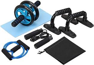 Equipo port/átil para el Ejercicio en el hogar Muscle Strength Fitness con Barra Push-up Nishore Rueda Abdominal Kit 4 en 1 Saltar la Cuerda y la Almohadilla para la Rodilla AB Roller Set