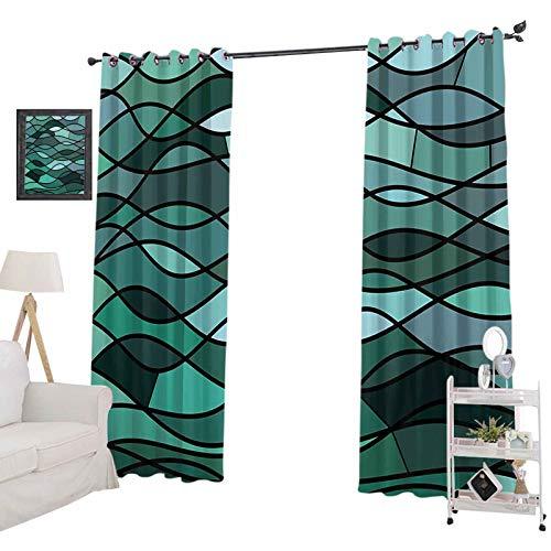 YUAZHOQI - Juego de cortinas opacas, diseño de mosaico abstracto inspirado en el océano, diseño exionista, diseño marino, cortinas de ventana para sala de estar, 132 x 213 cm, color verde oscuro