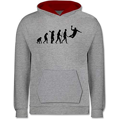 Shirtracer Evolution Kind - Handball Evolution Herren - 152 (12/13 Jahre) - Grau meliert/Rot - Evolution Handball Hoodie Kinder 152 - JH003K - Kinder Kontrast Hoodie