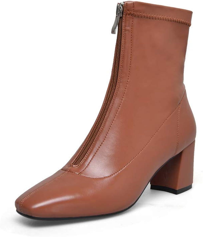 AdeeSu Womens Square Heels Chunky Heels Square-Toe Microfiber Boots SXE04111