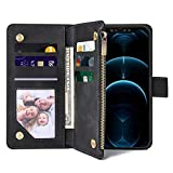 FRYGIKU Wallet Case for iPhone 12/12 Pro Case with Card Holder, Flip Case for iPhone 12 Magnetic Closure with Kickstand Wallet Cover for iPhone 12 Pro 6.1 Inch Compatible with Wireless Charging Black