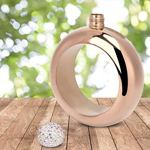 Jarra portátil de Pulsera de petaca de Alcohol para Danza(Bright Rose Gold)