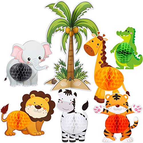 7 Centros Mesa Animal Selva Suministro Fiesta Nido Abeja Animal Salvaje Decoraciones Cumpleaños Temáticas Jungla 3D Decoración Cumpleaños Recortes Animales para Ducha Bebé Boda Fiesta Temática