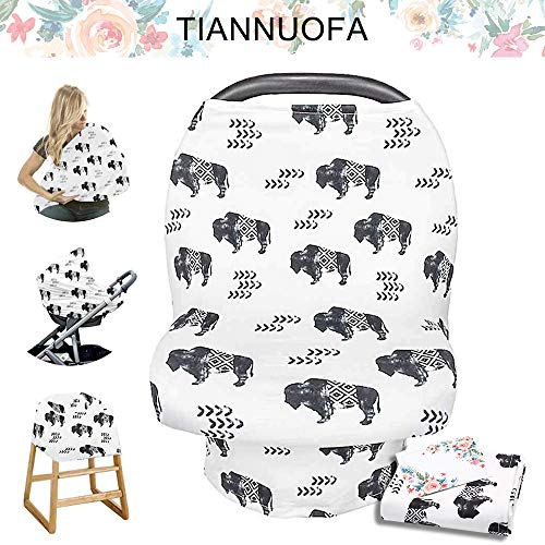 Stretchy Baby Car Seat Cover for Baby Boys and Girls,Multiuse - Nursing Breastfeeding Covers,Shopping Cart/High Chair/Stroller Covers,Infinity Scarf,Car Seat Canopies(Ink Cattle)