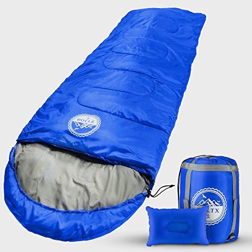 BOLTX - Schlafsack Outdoor | 210x75cm Blau | Komfort 10-0 Grad | Winter- und Sommerschlafsack für Kinder und Erwachsene + gratis Reisekissen