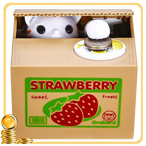 Toy Banks HmiL-U Automatic cat Stealing Coins Birthday&Christmas Gifts for Kids (Strawberry-Cat)