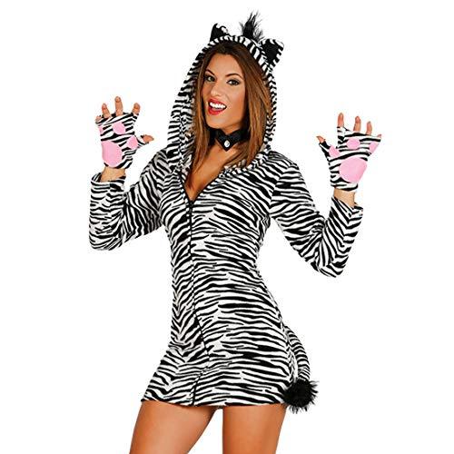 NET TOYS Disfraz Cebra Mujer - M (ES 40/42) | Vestido Cebra con Capucha | Traje África Dama | Caballo Outfit