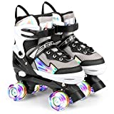 Cifaisi Roller Skates for Girls Boys Kids, Black and Purple 4 Sizes Adjustable Kids Roller Skates with Light up Wheels and Shining Upper Design, Size 10C to 13C to 6Y in Kids Shoes