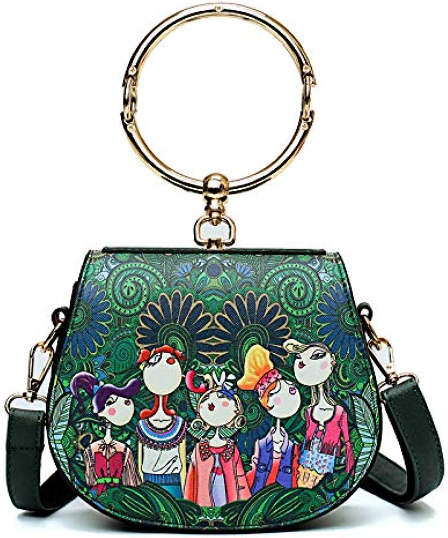 AI BAO Sweet Lady Ring Handle Bag Small Fresh Shoulder Messenger Bag Cute Mini Tote Bag