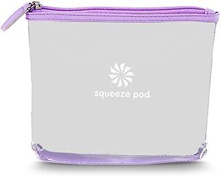 Squeeze Pod TSA Approved Clear Toiletry Bag, 3-1-1 TSA Compliant Quart Size Carry On Bag for Travel Size Liquids, Toiletries & Cosmetics - Durable PVC Plastic, Heavy Duty Zipper, Purple Trim (CTBPUR)