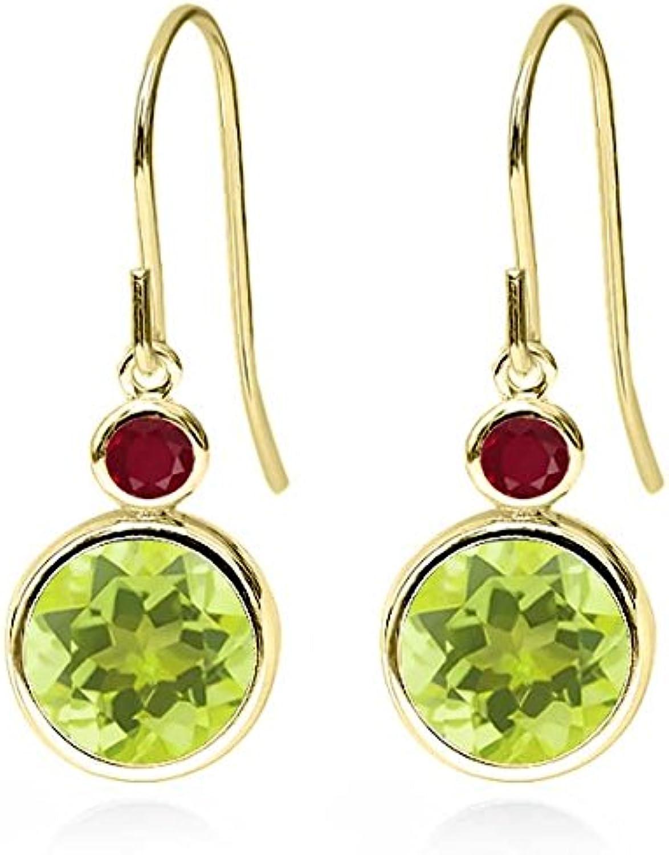 3.98 Ct Round Yellow Lemon Quartz Red Ruby 14K Yellow gold Earrings