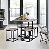 FurnitureR 5 Piece Wooden Metal Dining Table Sets Rectangle Table and 4 Round Chairs for Home Kitchen Modern Furniture,Beech and White (Wood)