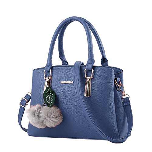 Bequemer Laden Borse Moda per Donna Borse in Pelle PU Borsa a Mano Donna con Grande Capacità-Blu
