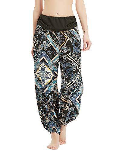 Anwor Damen Sommerhose/Haremshose/Blumenmuster Locker Weite Beine Lange Hose, Damen Locker Weite Hose mit 2 Taschen (Blaues Quadrat M)