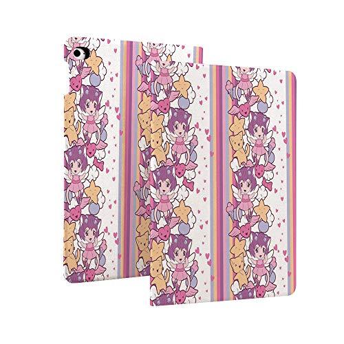 Doodle - Funda para iPad de 10,2 pulgadas (7ª generación), diseño de estrellas y gatos con corazones pequeños Otaku Kawaii japoneses, superfina y ligera, con función atril