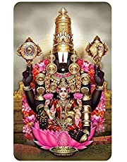 "AWESOME Tirumala Tirupati Balaji God Picture for Pooja Room mandir; Prayers; Office; Car; Fridge; Locker. A Divine Gift for People of All Ages. 1 Religious Idol Photo 3.5"" x 2""; with Magnet (G1P)"