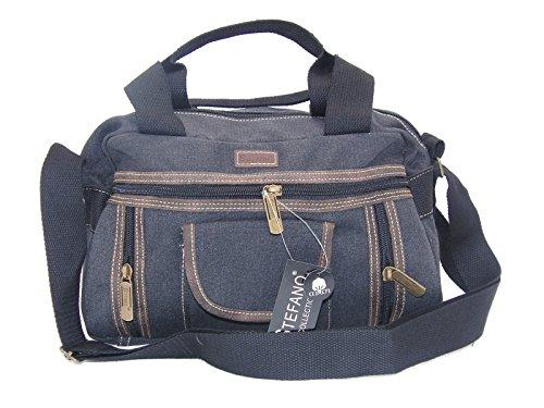 STEFANO Canvas Damentasche Vintage Herren Tasche Schultertasche Umhängetasche Handtasche Rucksack Verschiedene Modelle (M5 schwarz)