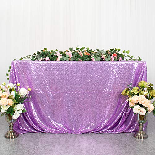 Rectangle Tablecloth Lavender Sequin Tablecloth Christmas Tablecloth 50''x80'' Sequin Table Cover Light Purple Glitter Table Overlay Coffee Tabletop Decor
