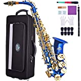 EASTROCK Blue/Gold Key Alto Saxophone E Flat Sax Full Kit for Students Beginner with Carrying Waterproof Case,Mouthpiece,Mouthpiece Cushion Pads,Cleaning Cloth&Cleaning Rod,White Gloves,Neck Strap