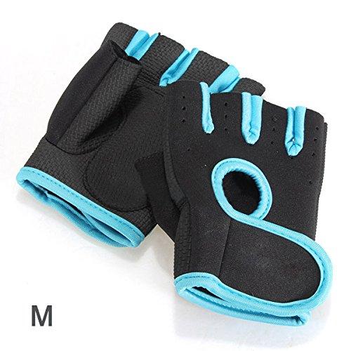 TOOGOO (R) NUEVO Deporte Ciclismo Fitness Gym medios guantes del dedo entrenamiento con ejercicios de pesas - Negro con borde azul M
